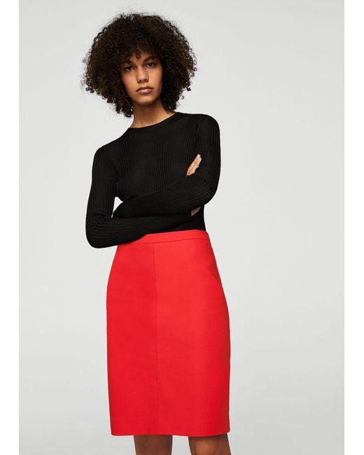 Mango - Red Pencil Skirt - Lyst