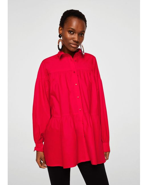 Mango - Red Oversize Cotton Shirt - Lyst