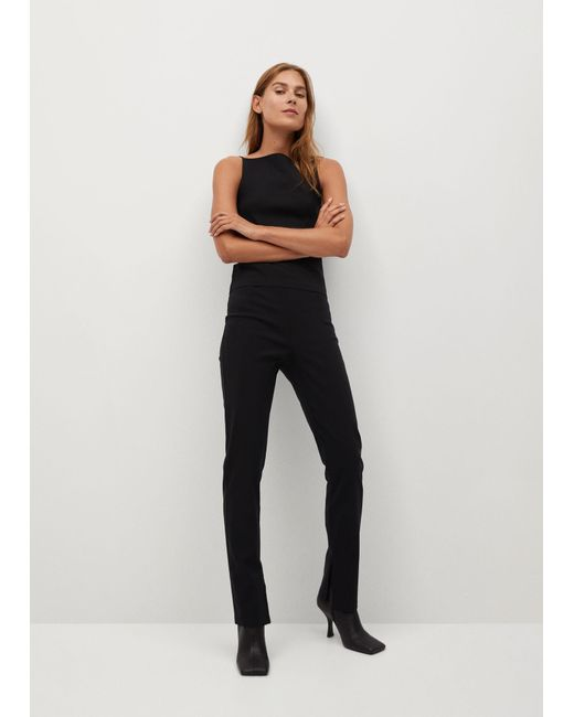Mango Black Slit Hem Trousers