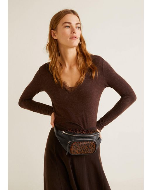 Mango - Black Leopard Leather Bum Bag - Lyst