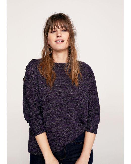 Violeta by Mango - Purple Buttoned Flecked Sweater - Lyst