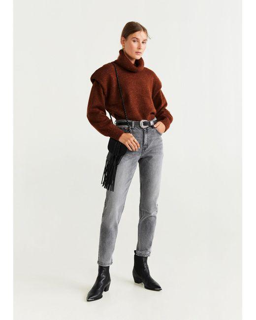Mango Gray Mom Slim Jeans Open Grey
