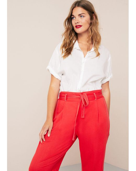 Violeta by Mango - Red Contrast Seam Trousers - Lyst