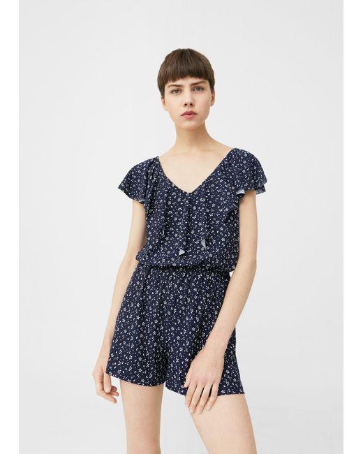 Mango | Blue Floral Short Jumpsuit | Lyst