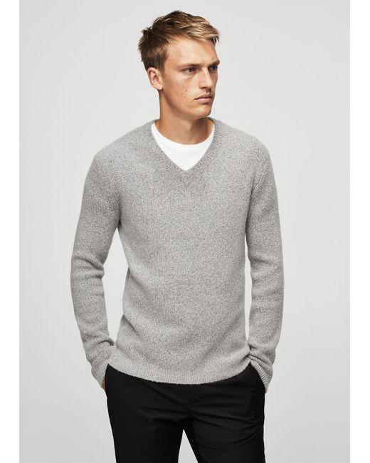 Mango   Gray Textured Wool-blend Sweater for Men   Lyst