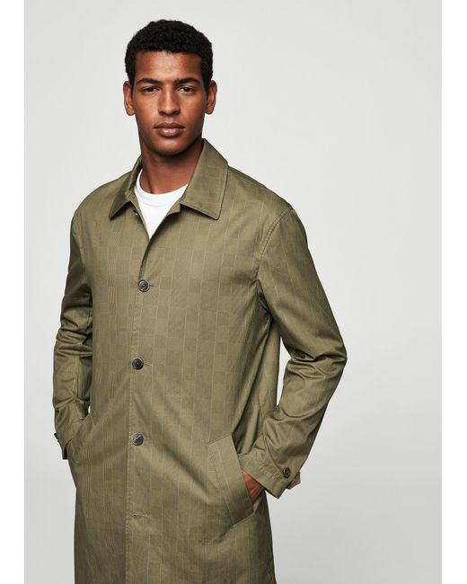 Mango | Brown Prince Of Wales Cotton Trench for Men | Lyst
