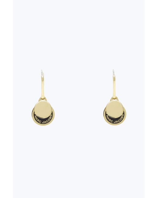 Marc Jacobs - Black Enamel Logo Disc Earrings - Lyst