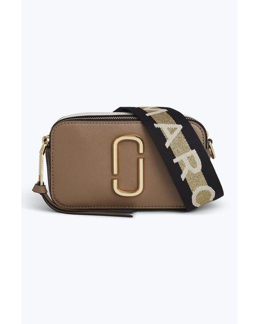 Marc Jacobs - Gray Snapshot Crossbody Bag In Beige Polyurethane Coated Calfskin - Lyst
