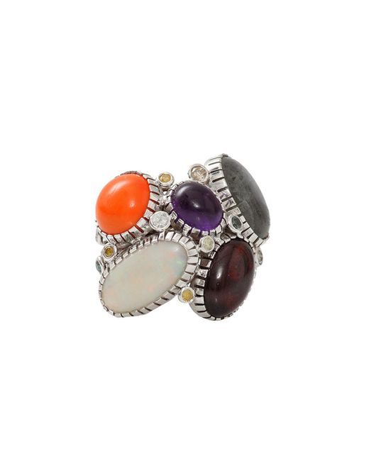 Boaz Kashi - Orange Opal And Moonstone Wire Wrap Ring - Lyst