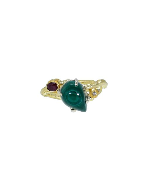 Boaz Kashi | Green Malachite And Pink Tourmaline Ring | Lyst