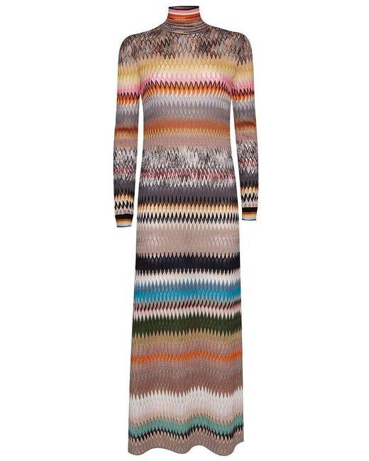 Missoni Multicolor Long Stripe Knit Dress