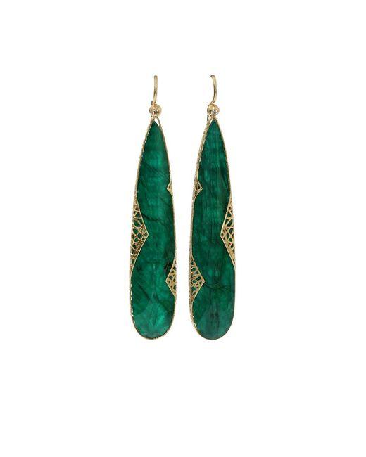 Yossi Harari Metallic Emerald Slice Lace Earrings