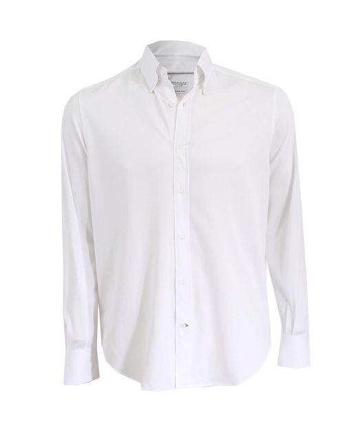 Brunello Cucinelli | White Slim-fit Cotton Sportshirt for Men | Lyst