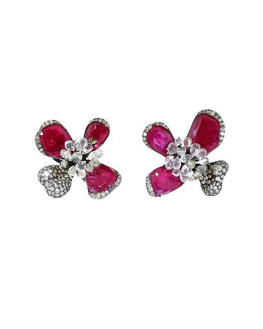 Arunashi | Multicolor Ruby Orchid Earrings | Lyst
