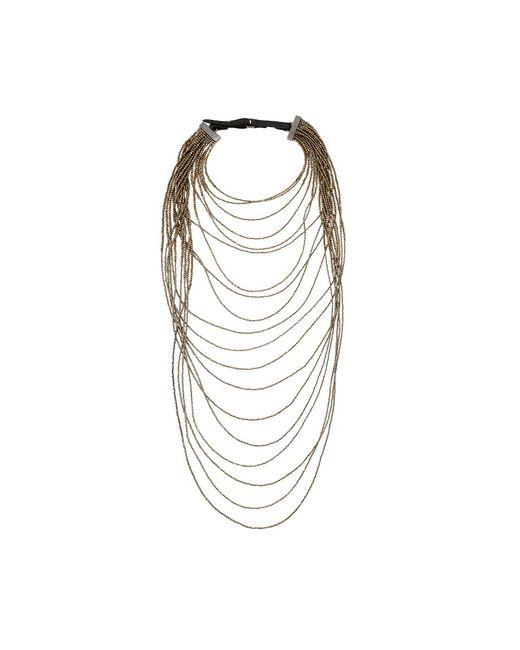 Brunello Cucinelli | Metallic Long Monili Waterfall Necklace | Lyst
