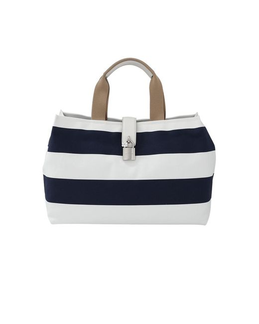 Dolce & Gabbana   Blue Canvas Striped Shopper   Lyst