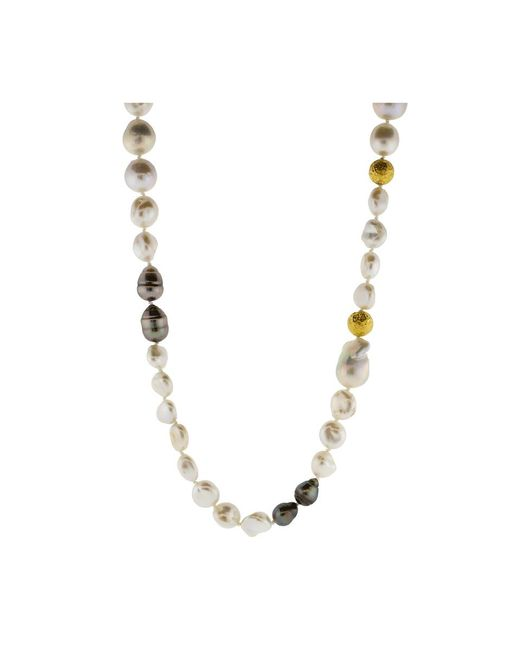 Jordan Alexander   Metallic White Freshwater Keshi Pearl Necklace   Lyst