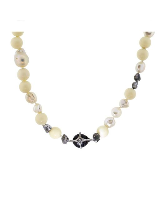 Jordan Alexander   Metallic White Coral Bead And Pearl Necklace   Lyst