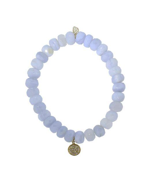 Sydney Evan | Blue Mini Diamond Disc Chalcedony Beaded Bracelet | Lyst