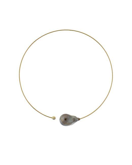 Mizuki | Metallic Baroque Tahitial Pearl And Diamond Collar Necklace | Lyst