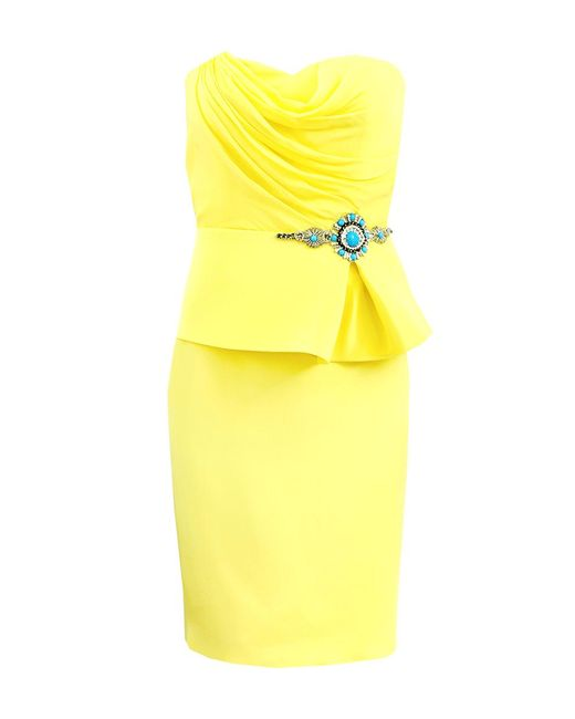 Notte by Marchesa | Yellow Strapless Draped Dress | Lyst