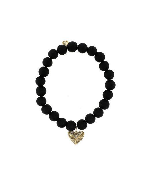 Sydney Evan | Black Diamond Pave Heart Onyx Beaded Bracelet | Lyst