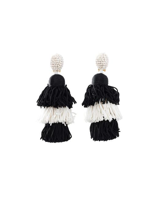 Oscar de la Renta | Black Tiered Tassel Earrings | Lyst