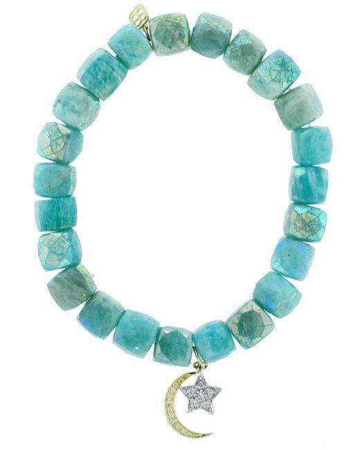 Sydney Evan | Blue Diamond Pave Moon And Star Charm Bracelet | Lyst