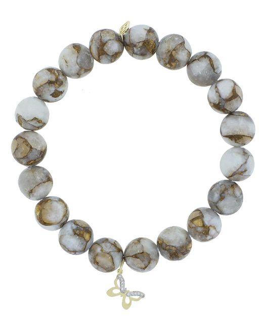 Sydney Evan   Metallic Diamond Pave Butterfly Charm Bracelet   Lyst
