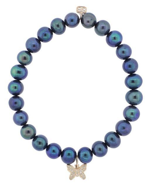 Sydney Evan | Blue Pave Diamond Butterfly Charm Bracelet | Lyst