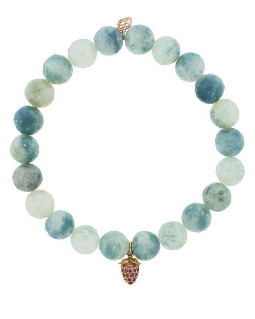 Sydney Evan | Blue Pink Sapphire Pave Strawberry Charm Bracelet | Lyst