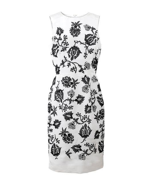 Oscar de la Renta - Black Embellished Pencil Dress - Lyst