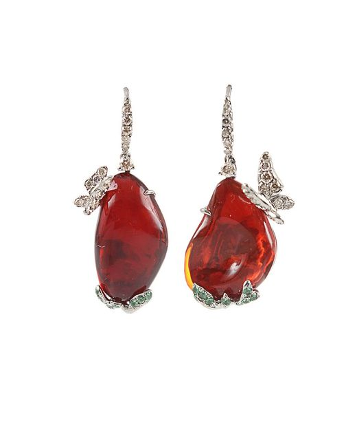 Arunashi | Red Fire Opal Butterfly Earrings | Lyst