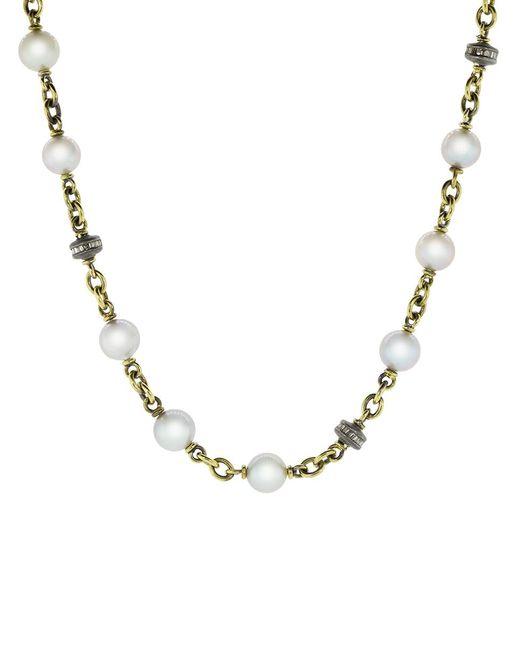 Sylva & Cie Metallic Akoya Pearl Diamond Bead Necklace