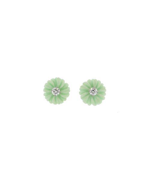 Irene Neuwirth - Carved Green Opal And Diamond Flower Stud - Lyst