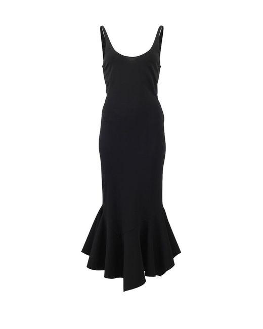 Givenchy | Black Ruffle Hem Midi Dress | Lyst