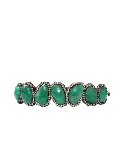 Sutra Green Sliced Emerald And Diamond Bracelet