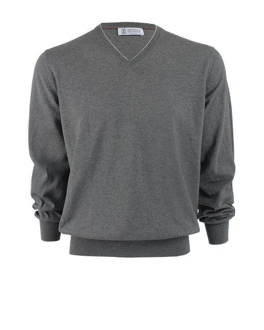 Brunello Cucinelli   Gray V-neck Fine Gauge Sweater for Men   Lyst