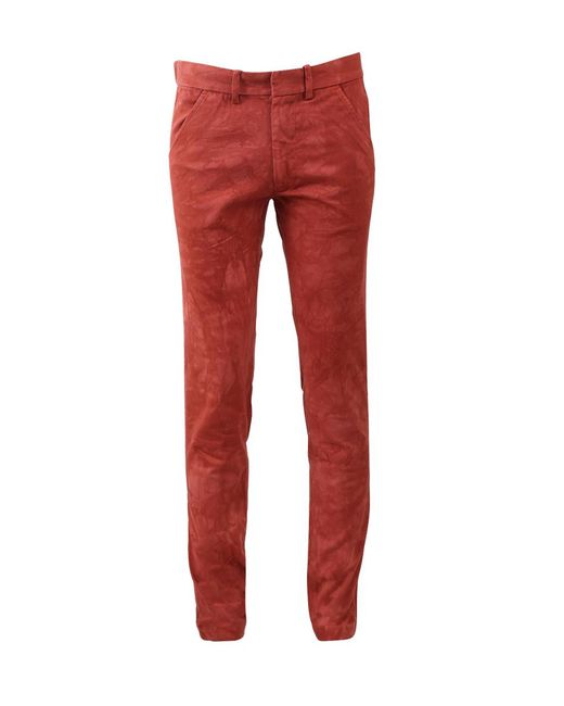 The Elder Statesman - Red Bleached Cotton Chino - Lyst