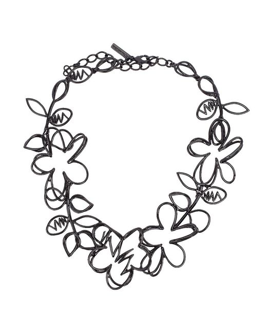 Oscar de la Renta - Black Botanical Scribble Necklace - Lyst