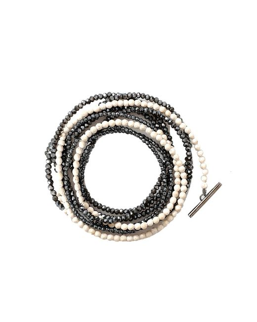Brunello Cucinelli | Metallic Riverstone And Glass Bead Necklace/bracelet | Lyst