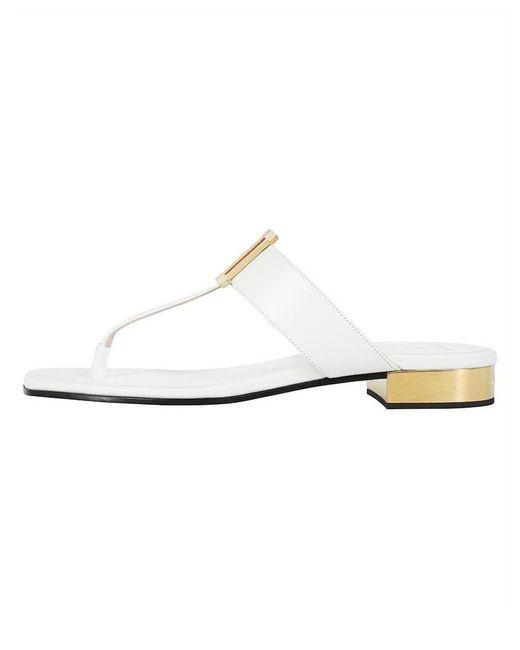 Balmain White Ivory Flat Sofia Sandal