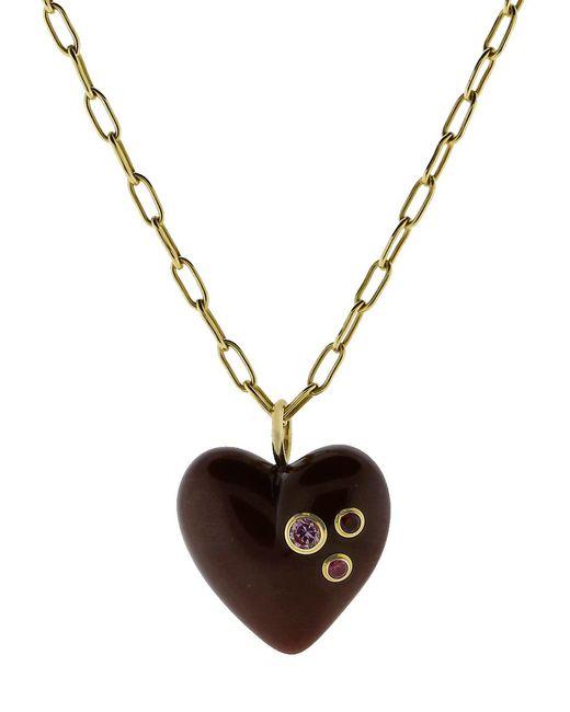 Mark Davis - Metallic Burgundy Bakelite Heart Pendant Necklace - Lyst