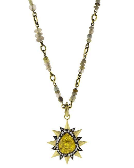 Sylva & Cie | Multicolor Pear Shape Diamond Slice Pendant | Lyst