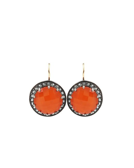 Andrea Fohrman | Carnelian And Gray Sapphire Button Earrings | Lyst