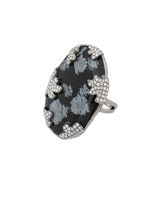 Colette - White Snowflake Obsidian Ring - Lyst