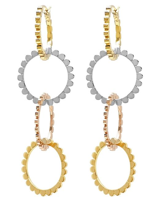Nancy Newberg - Metallic Four Linked Tri Gold Hoop Earrings - Lyst