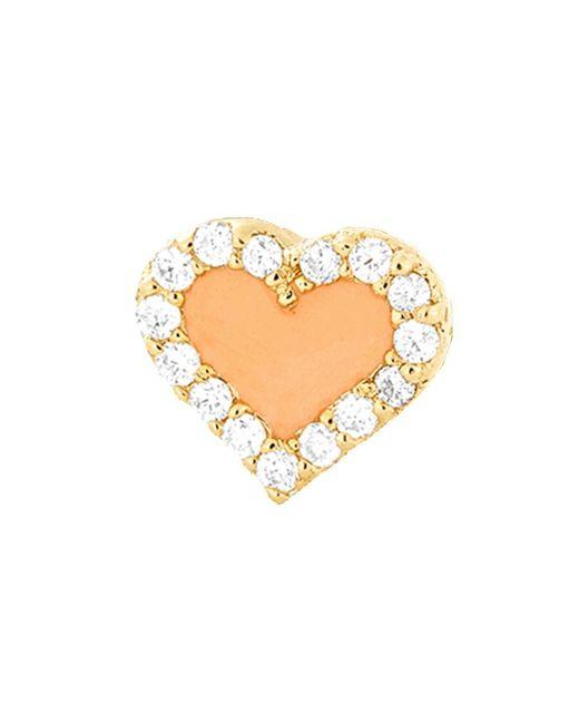 Alison Lou - Metallic Coral Enamel And Diamond Heart Stud - Lyst