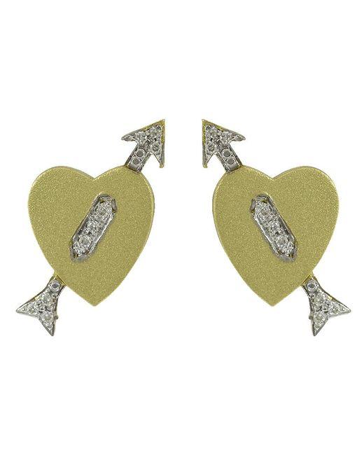 Irene Neuwirth Green Diamond Pave Heart And Arrow Studs