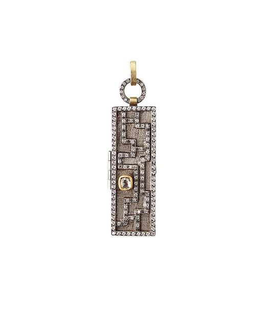 Annie Fensterstock - Metallic Mixed-metal And Diamond Maze Locket Pendant - Lyst
